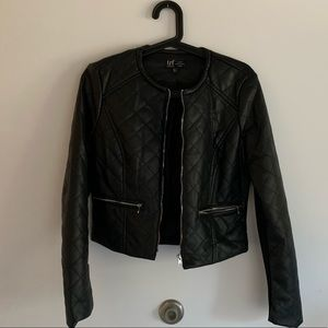 zara faux leather quilted jacket